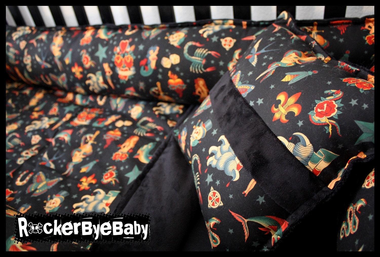 custom punk baby 4 piece crib bedding set fabric by. Black Bedroom Furniture Sets. Home Design Ideas