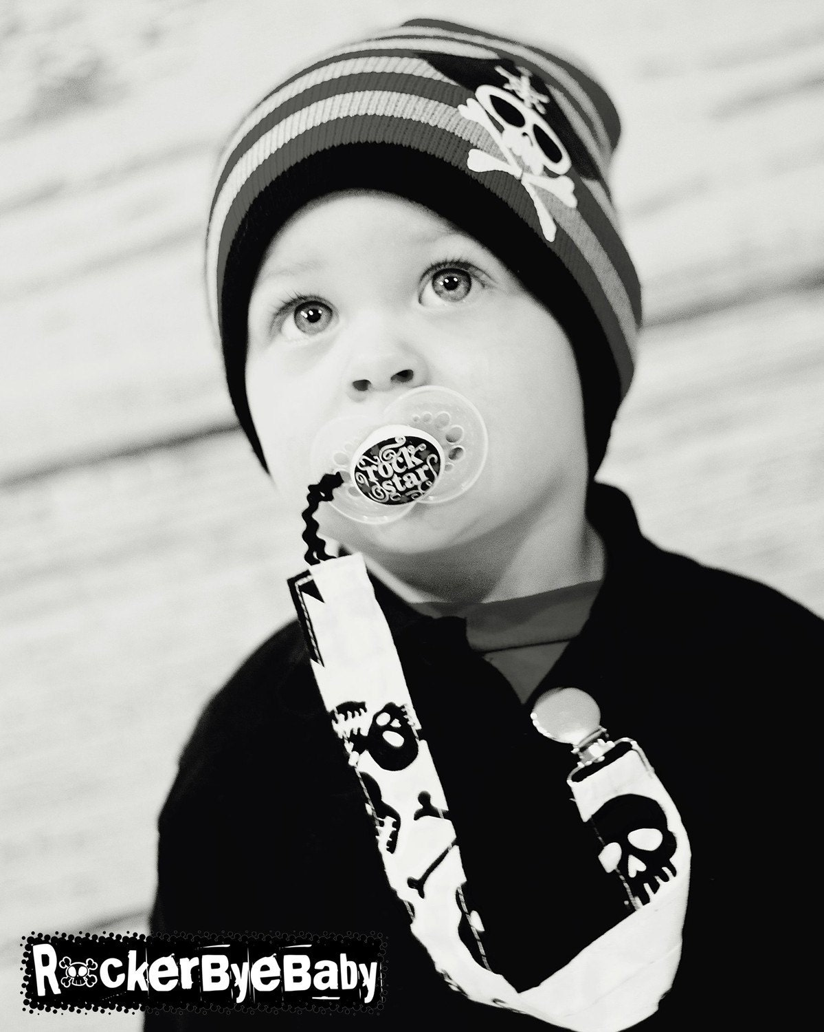 Custom Punk Rock Baby or Toddler Pacifier Clip Fabric in