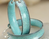 Hoop Earrings Robins Egg Blue Copper Enamel