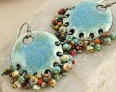 Gypsy Earring - Denim - Ethnic and Organic - Kiln Fired Copper Enamel with Czech Beads