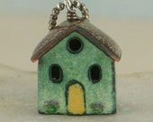 House Necklace Copper Enamel Green with Yellow Door