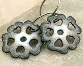 GRAY Neutral Hand Cut Flower Earrings Copper Enamel