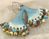 Faded Denim and Aged Ivory Dangle Earrings with Beaded Fringe