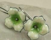 Dogwood Flower Copper Enamel Earrings Creamy Bright Green Delicate Lightweight