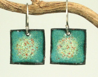 Aqua, Red and Yellow  Square Drop Copper Enamel Earrings Kiln Fired