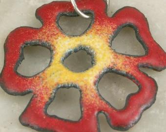 RED Flower Copper Enamel Pendant BoHo Modern Autumn