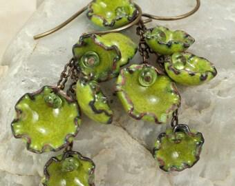 Olive Peridot Dangling Earrings Copper Enamel Autumn