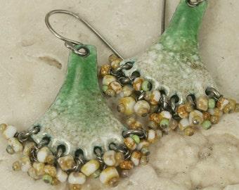Enamel Earrings Mossy Old Ivory Dangle Earrings with Czech Glass Beaded Fringe