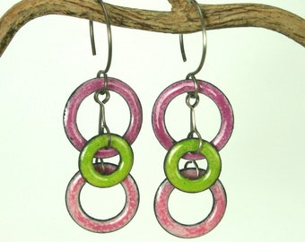 Handcrafted Earrings Circles Rose Pink and Green Copper Enamel