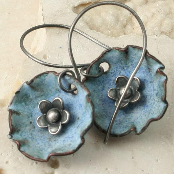 Faded Denim Flower in a Cup - Enamel Earrings