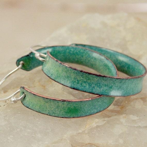 Hoop Earrings -  Verdigris Blue/Green Color - Copper Enamel