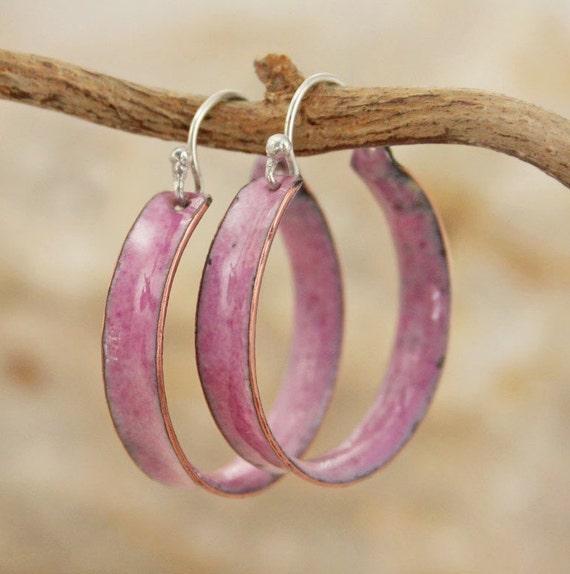 Hoop Earrings Rosey Pink Color Copper Enamel Large Hoops