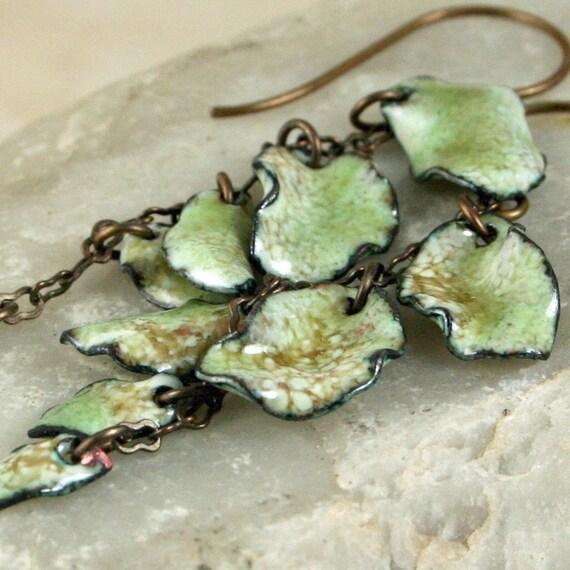 Mossy Woodland Leaves Copper Enamel Earrings Dangling Autumn