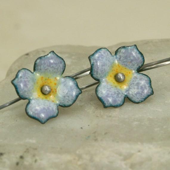 Dogwood Stylized Smaller Flower Copper Enamel Earrings Kiln Fired Hand Formed