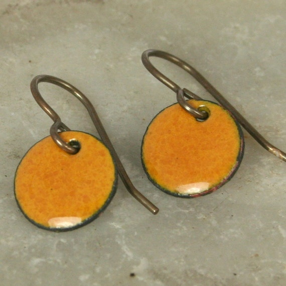 Small Earrings Mustard Dainty Copper Enamel Colorful comfortable Autumn