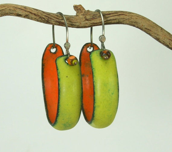 Artisan Hoop Earrings Bitter Green and Orange Copper Enamel