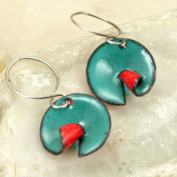 Artisan Made Copper Enamel Earrings Curled Circles Red and Teal Modern