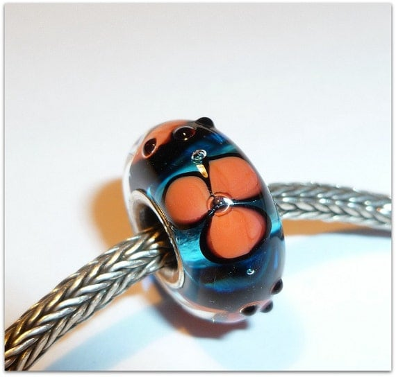 Luccicare Lampwork Bead - Lined with Sterling Silver
