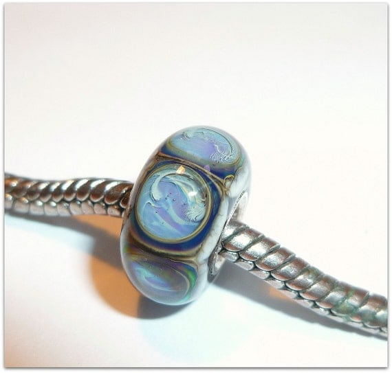 Luccicare Lampwork Bead - Pools - Lined with Sterling Silver - SMALL CORE