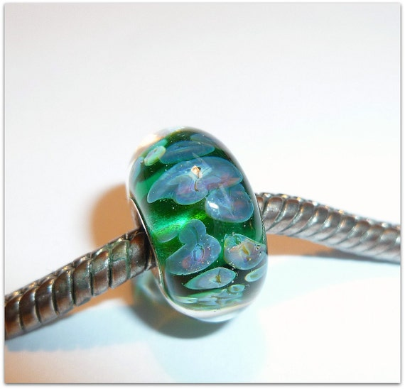 NEW - Luccicare Lampwork Bead - SMALL SIZE - Lined with Sterling Silver - Small Core