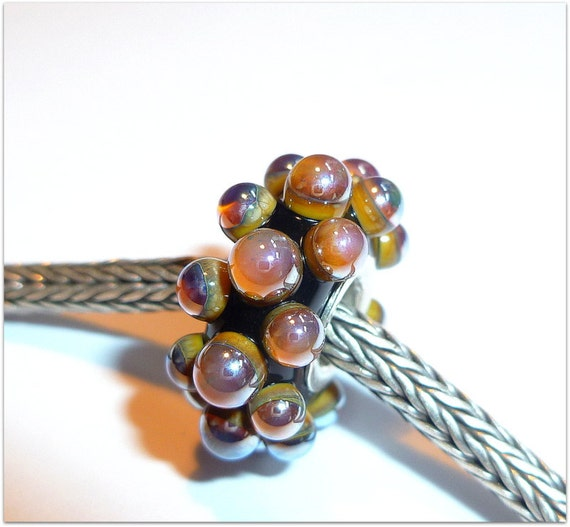 Luccicare Lampwork Bead - Lined with Sterling Silver - Large Berry