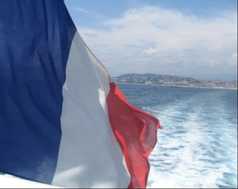 France Photography, Flag of France, French Flag, Offshore Photography, Mediterranean Sea, Cannes, St. Tropez, 8x10, 5x7