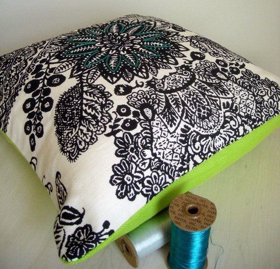 """Embroidered Decorative Pillow Cover - Cushion Cover - Summertime Smash - Lime Green - Black - White - Pattern - 20"""" x 20"""""""