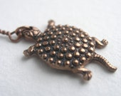 Antiqued Copper Turtle Necklace.