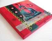 Asian Buddha Painting Contemporary Art Collage Organizer Hooks by BululuStudio