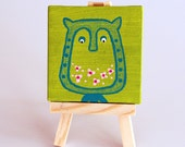 Flor the owl - Peridot Turquoise Shade Mini Canvas - READY TO SHIP