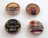 Vintage Milk Caps Labels Magnets for the fridge by BululuStudio black and orange