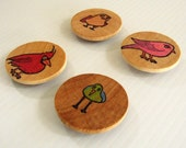 Magnets - Four Birds Handpainted Magnets by BululuStudio