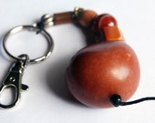 Ethnic Brown Tawa Tagua Chunky Monogram Zipper Pull Charm / Keychain by BululuStudio
