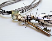Punk Eiffel Tower Black and White Key Pendant Necklace by BululuStudio on Etsy. Free ribbon necklace.