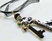 Eiffel Tower Black White Key Pendant Necklace by BululuStudio on Etsy .  Free Ribbon Necklace .