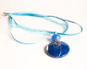 Cobalt Blue Sodalite. Navy Blue. Natural Gemstone. Bold Chunky Pendant Necklace. Free shipping