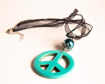 Summer Collection Chunky big Peace Sign. Turquoise. Teal. Gemstone wire wrapped Pendant. Free Organza Ribbon.
