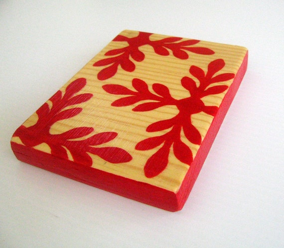 PIF - Red Leaves Mini Wall Artwork Block by BululuStudio