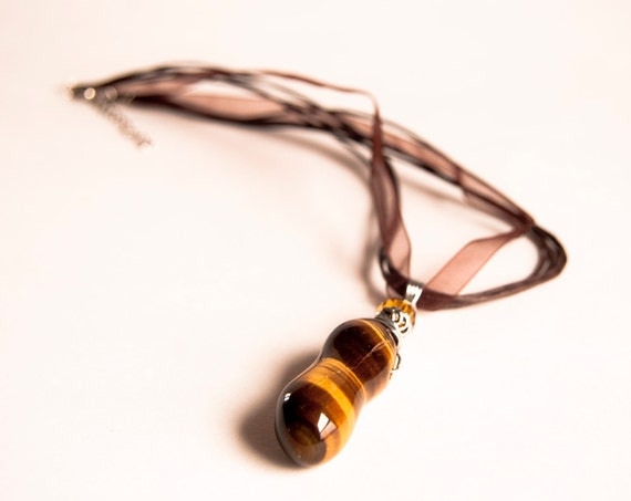 PIF Smooth Chunky Tigers Eye Gemstone. Pendant . Bridal. Exotic Wedding. Amber colors. Free Ribbon Necklace.
