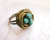 Birds Nest Ring - gift for mother, newborn, family - personalized gift - Mothers day, Easter gift