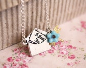 I love you - dainty romantic necklace, vintage bohemian jewelry, gift for her