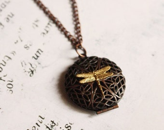 Dragonfly Memories - Vintage Inspired Locket Necklace, Bohemian Jewelry