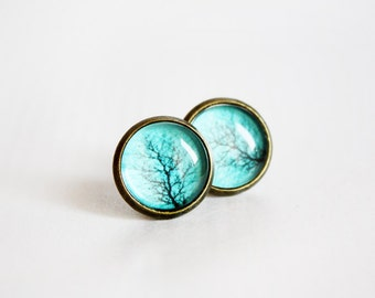 Teal Tree Branch Stud Earrings - Gift For Her Under 20usd