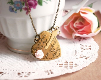 Finding Love - heart and key charm necklace / Gift for Her under 25usd