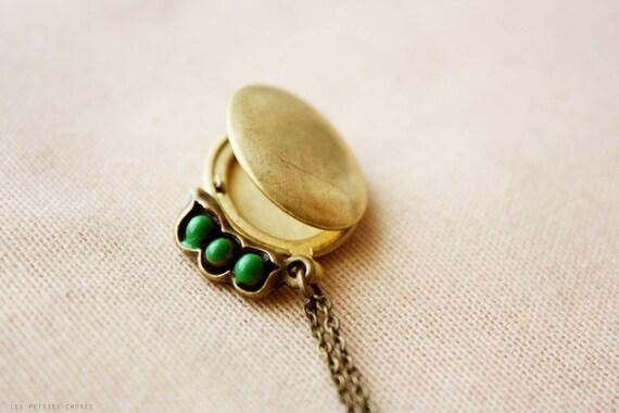 SALE - Pea Pod Locket - simple whimsical necklace