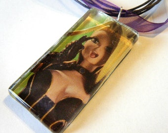 Anime Black Canary recycled comic book pendant
