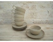 Mid Century Heath Pottery Cup and Saucer -  Set of 5 - Coupe Line