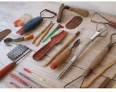 Vintage Artist's Ceramics Tools with Wood Box