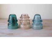 Set of 3 Vintage Electrical and Telephone Line Insulators - Clear Glass - Aqua Glass