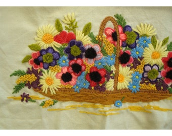 Embroidery Baskets of Flowers - Supply for Pillow or Wall Art